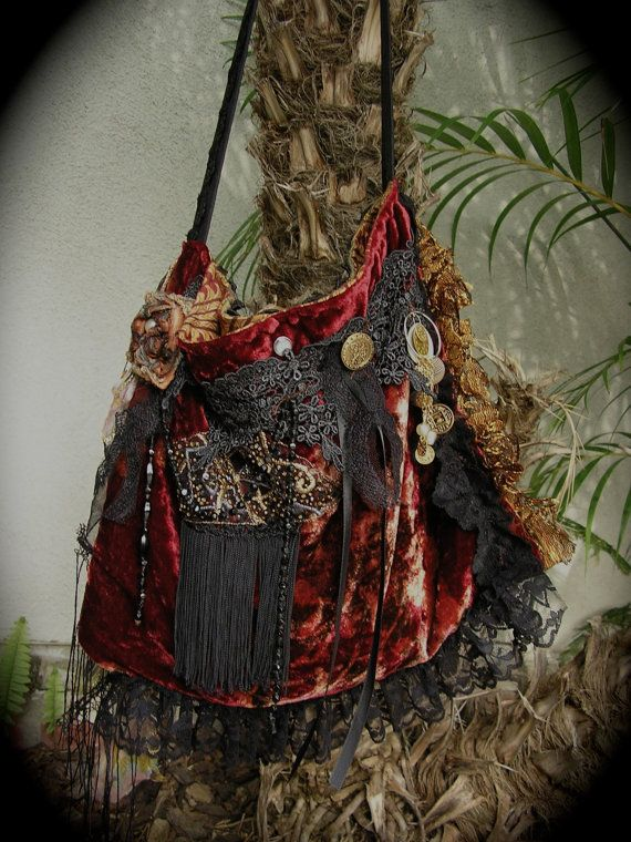 Red Velvet Gypsy Bag handmade slouchy and unique, a OOAK upcycled project by Dede