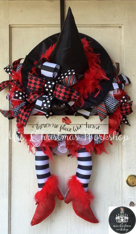 Halloween deco mesh wreath Halloween by MrsChristmasWorkshop