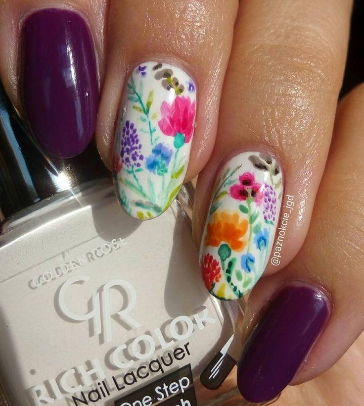 """Polubienia: 282, komentarze: 28 – Jagoda  (@paznokcie_jgd) na Instagramie: """"Flower pattern  . Kwiatowy deseń  .. . . . #paznokcie #reczniemalowane #wkwiaty #kwiaty…"""""""