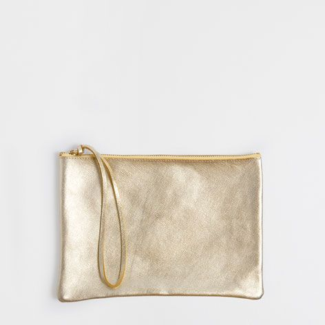 golden leather sponge bagclutch to organise accessories zara home united kingdom