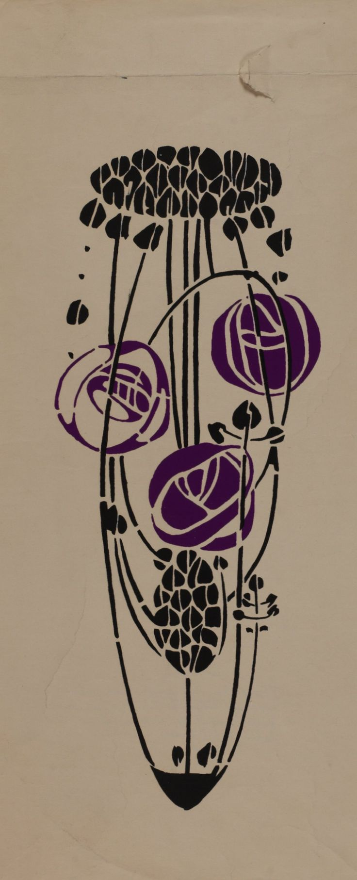 Trial in black and purple of stencil related to the stencilled back of the armchair, designed by Charles Rennie Mackintosh for the 'Rose Boudoir', Modern Decorative Art exhibition, Turin, 1902  Hunterian Art Gallery Mackintosh collections: GLAHA 41334