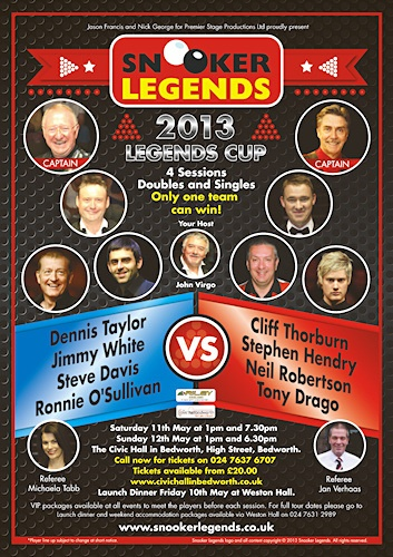 They're back in 2013.  Eight of the worlds greatest snooker stars in two teams, England & Northen Ireland versus The Rest of the World. England & N. Ireland Dennis Taylor (Captain) Ronnie O'Sullivan Steve Davis Jimmy White k Rest of the World Cliff Thorburn (Captain) Stephen Hendry Neil Robertson Tony Drago  Referee:  Michaela Tabb & Jan Verhaas Host & Commentary:  John Virgo