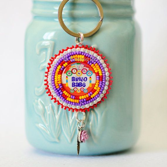 Bingo babe beaded keychain by CreativeHands4U on Etsy