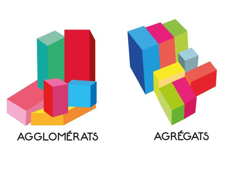 Une illustration sur la différence entre les agglomérats et les agrégats, ce type de schéma est souvent en noir et blanc, j'ai décidé de le faire en couleurs. C'est le même rapport qu'entre le fond et la forme!
