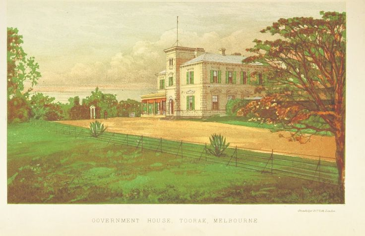 Colour Plate Print from 1871 of the Government House, Toorak, Melbourne