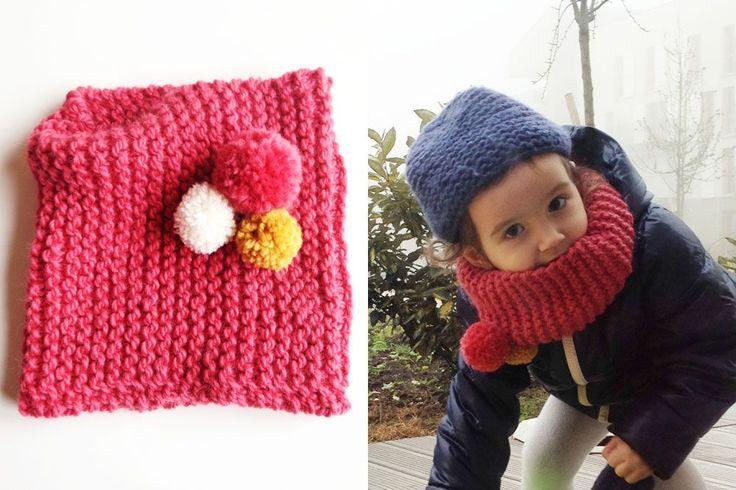 Lucette et Suzette : Le tricot facile : le snood à pompons pour enfant - tuto gratuit