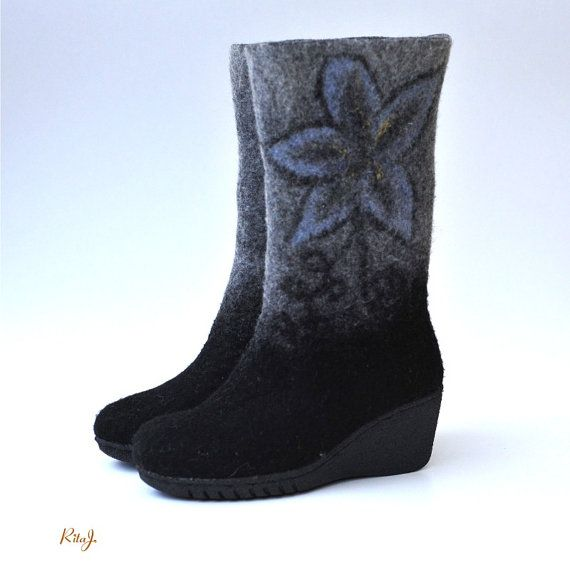 Felted boots Black from natural softest merino by RitaJFelt
