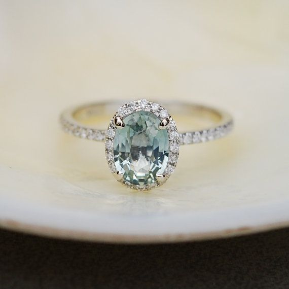 1.98ct Mint blue green oval sapphire diamond ring 14k white gold engagement ring