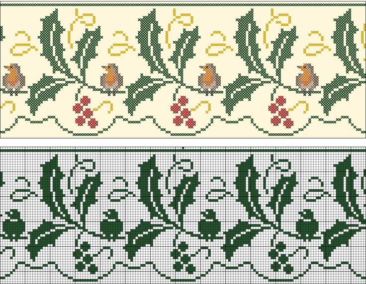 Christmas border - Robin and holly | Chart for embrodery and filet crochet.