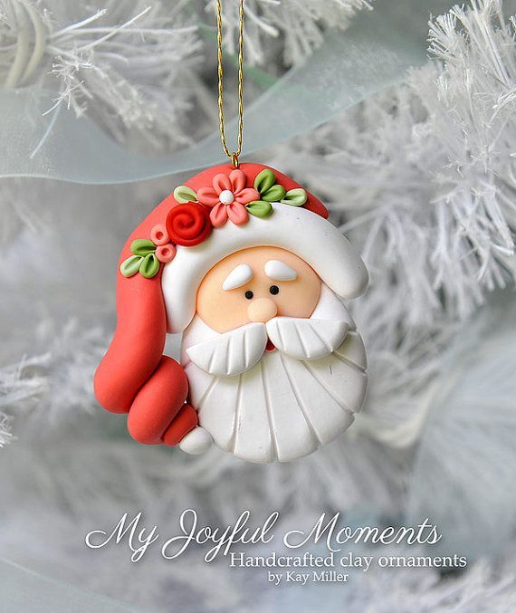 Handcrafted Polymer Clay Santa Claus Ornament by MyJoyfulMoments: