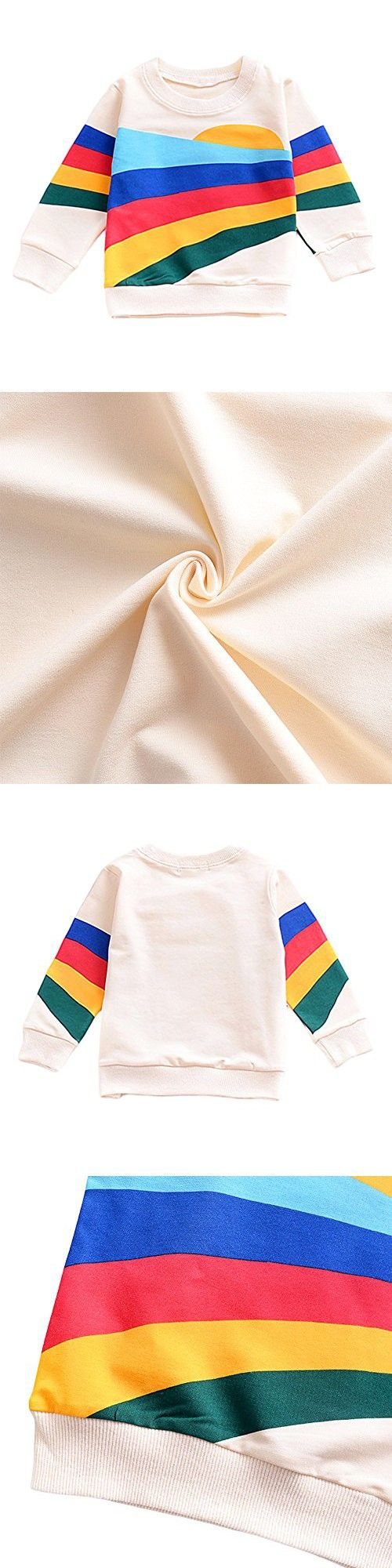 YOHA Baby Girls Autumn Soft Rainbow Top Blouse Long Sleeve Toddler Casual Tops Sunrise,110