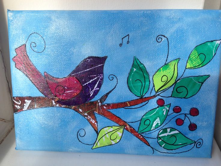 Acrylic and gelli printed papers on canvas