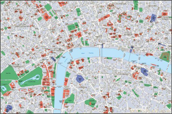 carte de londres avec monuments Carte de Londres : Plan touristique Monuments de Londres (avec