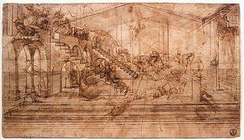 Leonardo da Vinci, Adorazione dei Magi, 1481-1482. Olio su tavola. Galleria degli Uffizi, Firenze. Disegno preparatorio.