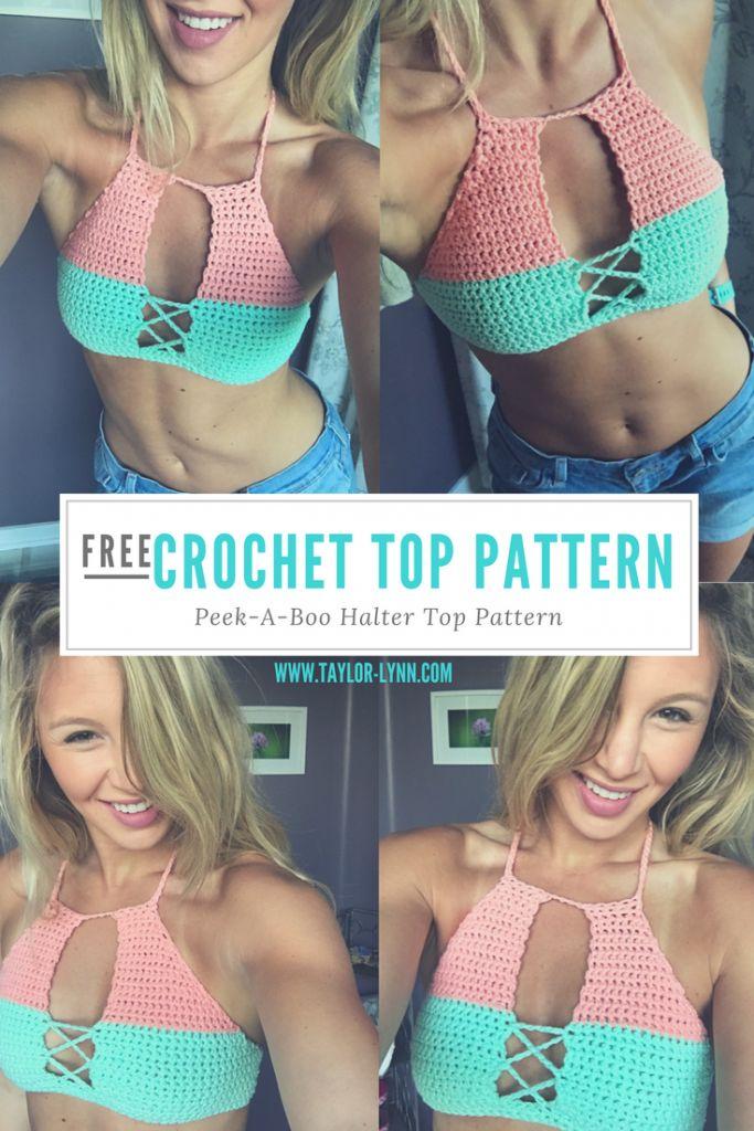 Free Peek-a-boo crochet halter top pattern from Taylor-Lynn.com