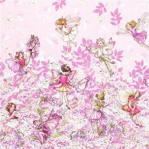 rosa Blumenstoff mit Blumenfeen, Blumenwiese und Schmetterlingen aus den USA