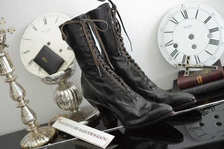 rar antike viktorianische schn rstiefel stiefel produkte. Black Bedroom Furniture Sets. Home Design Ideas