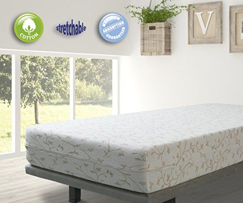 From 11.95 Velfont Bali Elastic Terry Cotton Floral Patterned Beige Fully Enclosed Mattress Cover 80x190/200cm