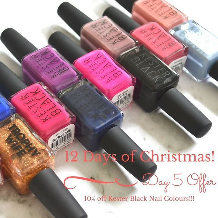 12 DAYS OF CHRISTMAS - DAY 5 OFFER!! . Shop Kester Black Nail Colours and get 10% off at the checkout. USE PROMO CODE: DAY5 . Today's offer is 10% off on Kester Black Nail Colours. Make your Christmas even more brighter with these beautiful high shine chip resistant nail polishes from Kester Black.  Proudly an Australian brand with Vegan and Cruelty Free Certifications and committed to sustainable manufacturing processes. . Shop at: http://ift.tt/2ggj5dD .