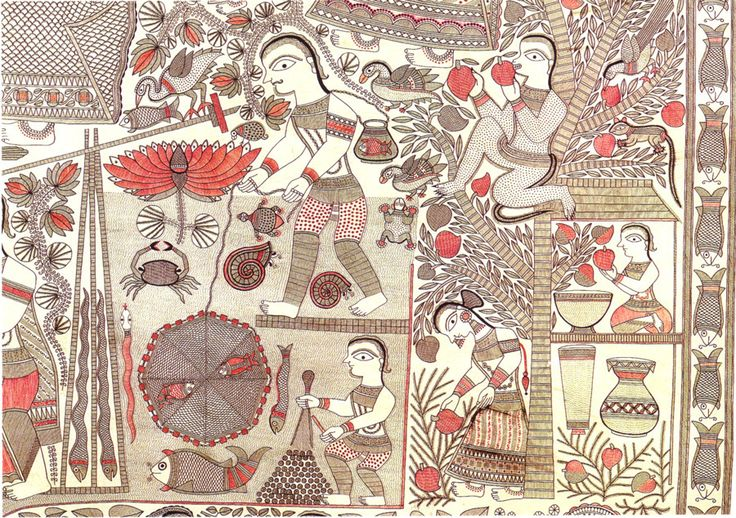 Ganga Devi, The Cycle of Life, 1983-85, detail (scenes from the rural life of Mithila) Riding the Rollercoaster with Ganga Devi - 50 Watts