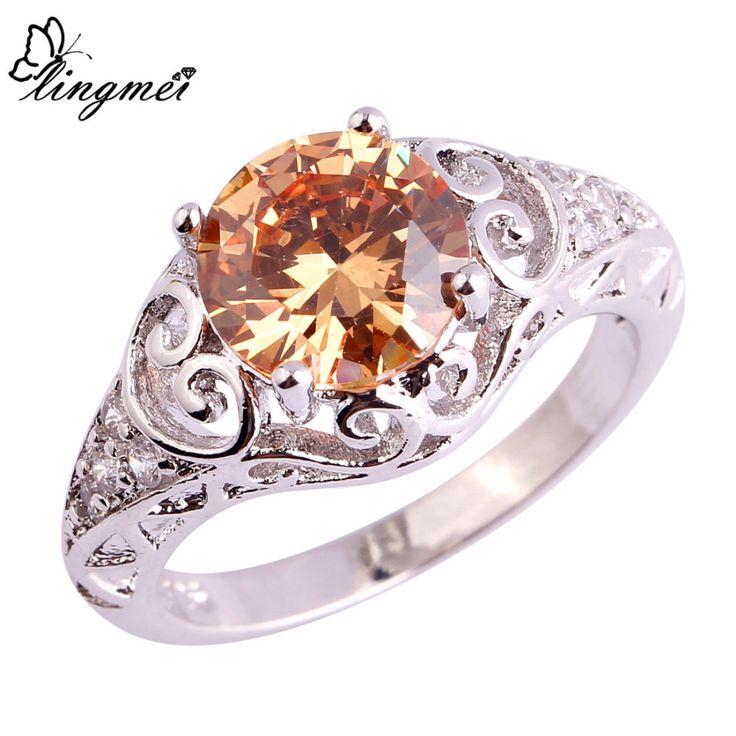 lingmei New Romantic Elaborate Morganite White CZ Silver Ring Size 6 7 8 9 10 11 Free Ship Wholesale Women New Jewelry
