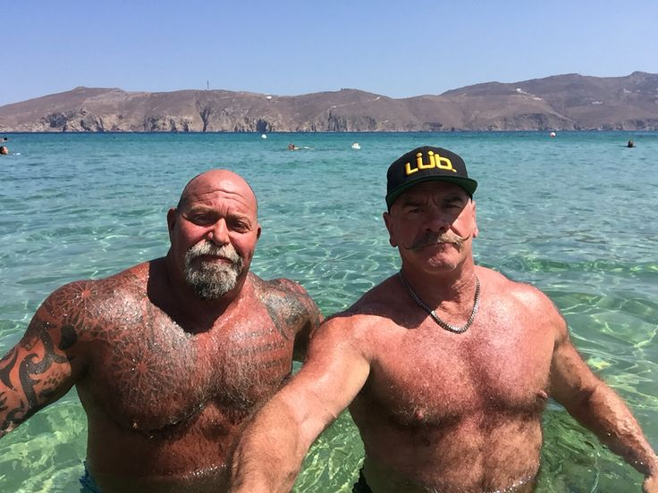 Chillaxing at Panormos Beach, Mykonos. Music by DJ Theo Alex.  Great day at the beach.  Life is good. #Panormos #Mykonos #chillaxing #LifeisGood #TurboDaddies #Musclebears
