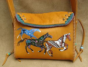 Hand-Painted Leather Horses Bag by Lyn Lyndall.   Saw this bag at Fred Eisen's shop in New Hope---it's gorgeous!