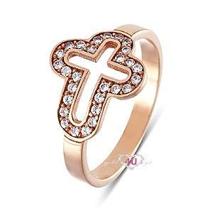 Stylish Cross Ring gold 14ct