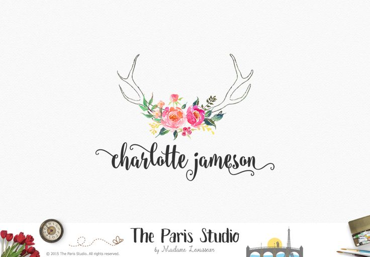 Hand Drawn Rustic Antler Floral Logo - photography branding, website logo, boutique logo, creative business branding or small business logo.