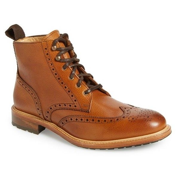 Crosby Square 'McCormick' Wingtip Boot (€265) ❤ liked on Polyvore featuring men's fashion, men's shoes, men's boots and british tan
