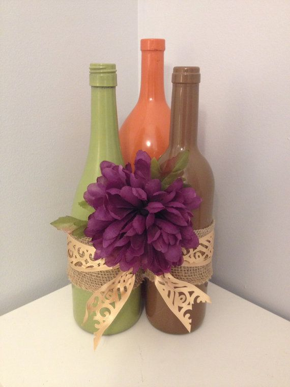 Three recycled wine bottles in beautiful fall by TheSaucyDish, $45.00