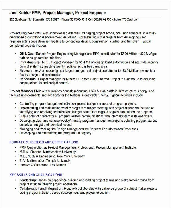 Engineering Project Manager Resume Lovely 31 Professional Engineering Resume Templates Pdf Doc