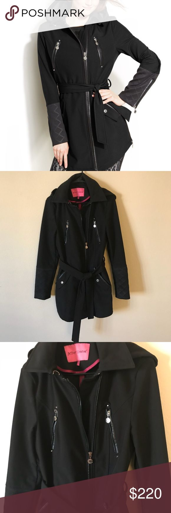 BETSEY JOHNSON HOODED ZIPPER JACKET Good condition. However, purchased it from Nordstrom Rack with a hole on the inside lining of the right pocket. Easy fix though if you care. This jacket gets a lot of compliments. Hood can come off. See last picture for wear on the main zipper pull. Other zippers look good! Betsey Johnson Jackets & Coats