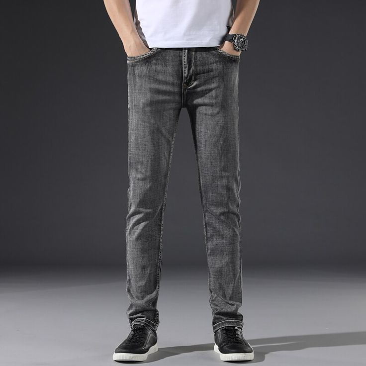 Buy New  Fashion Casual Cotton Elastic Slim Fit  Jeans Brand Trousers Malemen's Trousers Yong Man Jeans at Wholesale Price. Free or Lowcost Worldwide Shipping. And large of options in our best Jeans category with cheapest price on Pricetug.com Grey Jeans Men, Men's Jeans, Black Jeans, Harem Pants Men, Trousers, Slim Body, Classic Man, Slim Man, Jeans Style