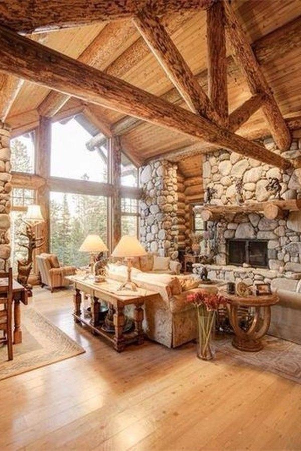 46 Amazing Lodge Living Room Decorating Ideas Log Cabin Homes Fireplace Design Cabin Homes