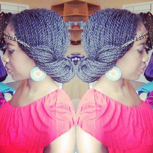 Senegalese Twists Headband Updo