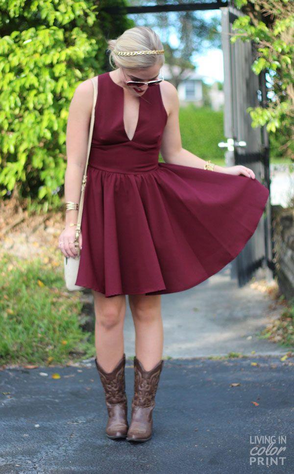 Simpleton skater dress burgundy color