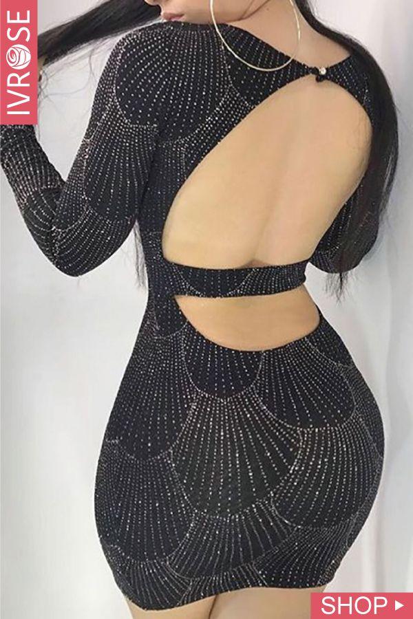 57e99a51a2b8 Shiny Hot Stamping Open Back Bodycon Dress