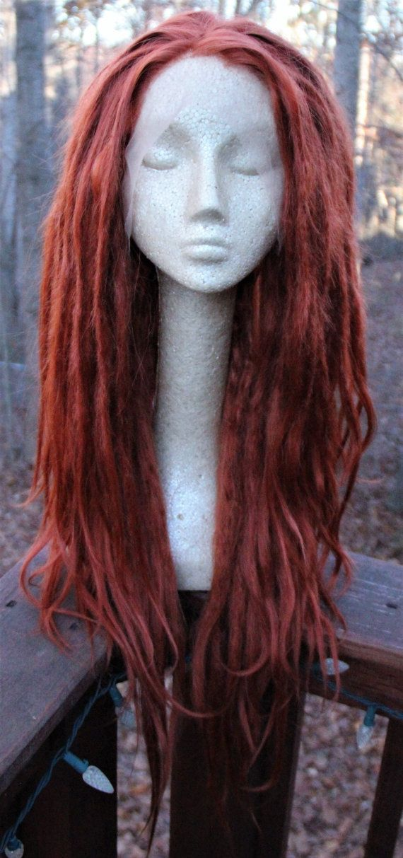 Ginger Dreadlock Wig  Synthetic Lace Front Dreads  Ginger