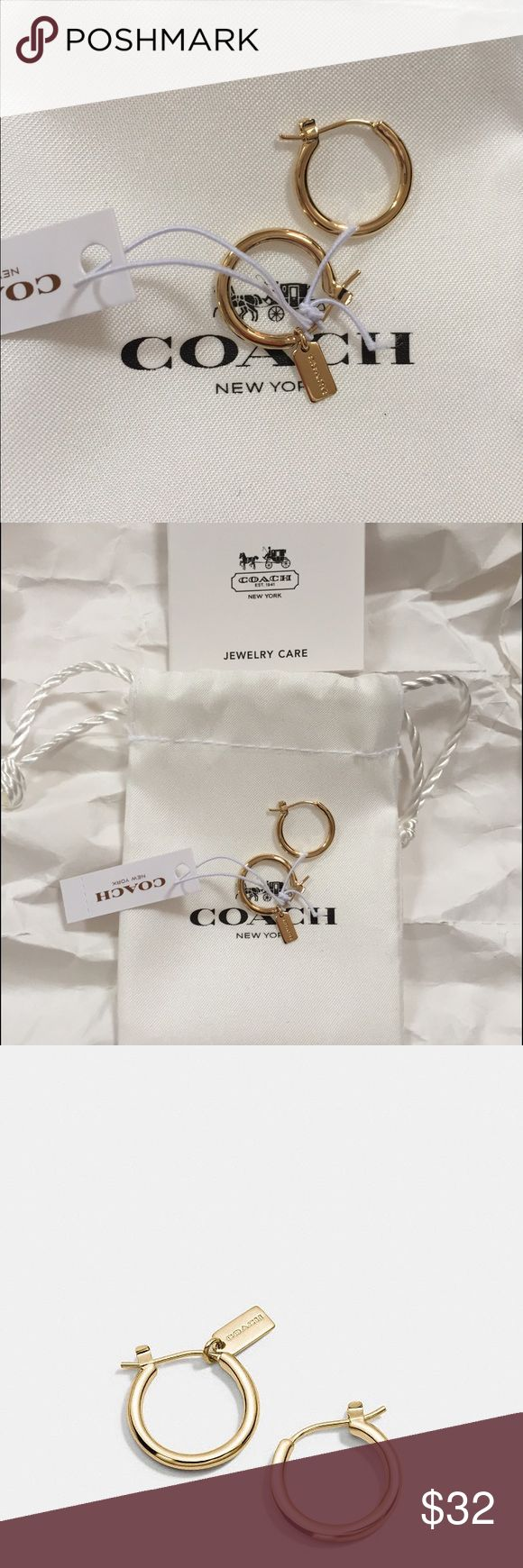 Coach Small Hoops Charm Base Hoop Earrings. Plated Metal (gold-tone) Adorned Cutest mini hang tag. Comes in Coach Bag & jewelry care info. Brand new! Coach Jewelry Earrings