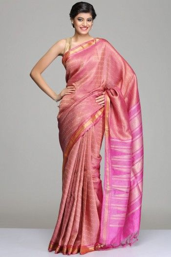 Onion Pink Tussar Silk Saree With Horizontal Zigzag Stripes With Gold Zari Detailing, A Gold Zari Border And Beige Temple Motif On The Pallu