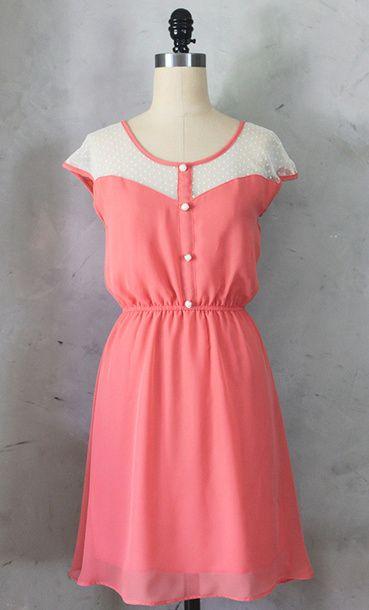 Petit Dejeuner Dress Coral