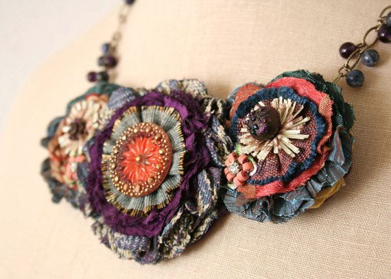 Colorful Fabric Flower Necklace Teal Blue Red by rosyposydesigns