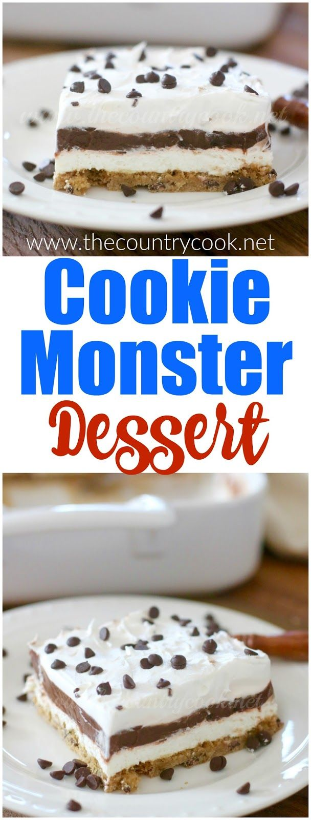 Cookie Monster Dessert. A layered dessert recipe from The Country Cook.
