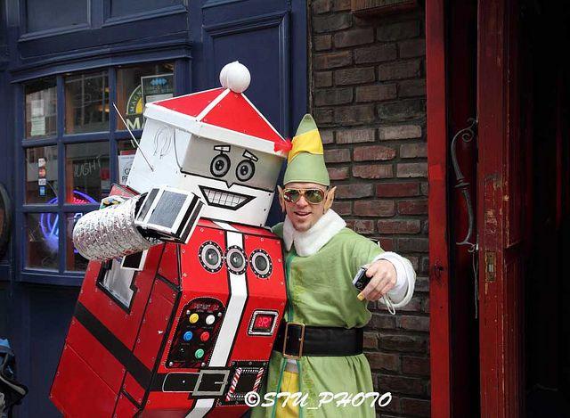 santa robot | Robot Santa at Santacon NYC 2010