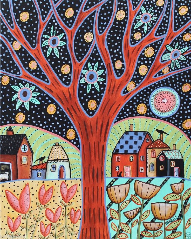 Moorland CANVAS PAINTING Houses Birds Sheep Cat 16x20inch FOLK ART Karla Gerard..new painting for sale...