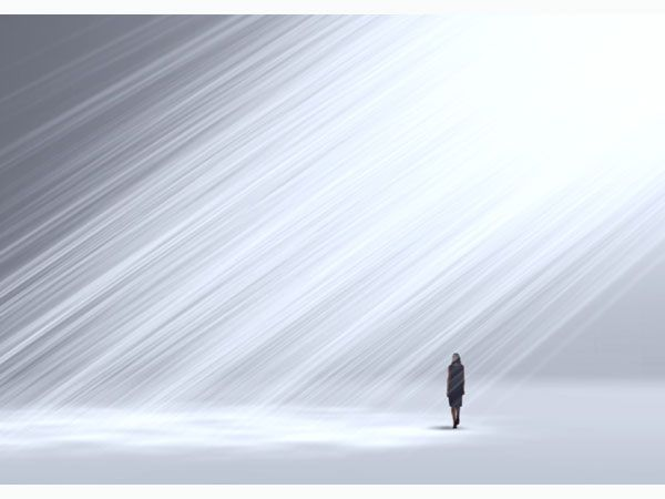 Tokujin Yoshioka, Twilight installation with artificial smoke hanging in the air and beams of light streaming through _