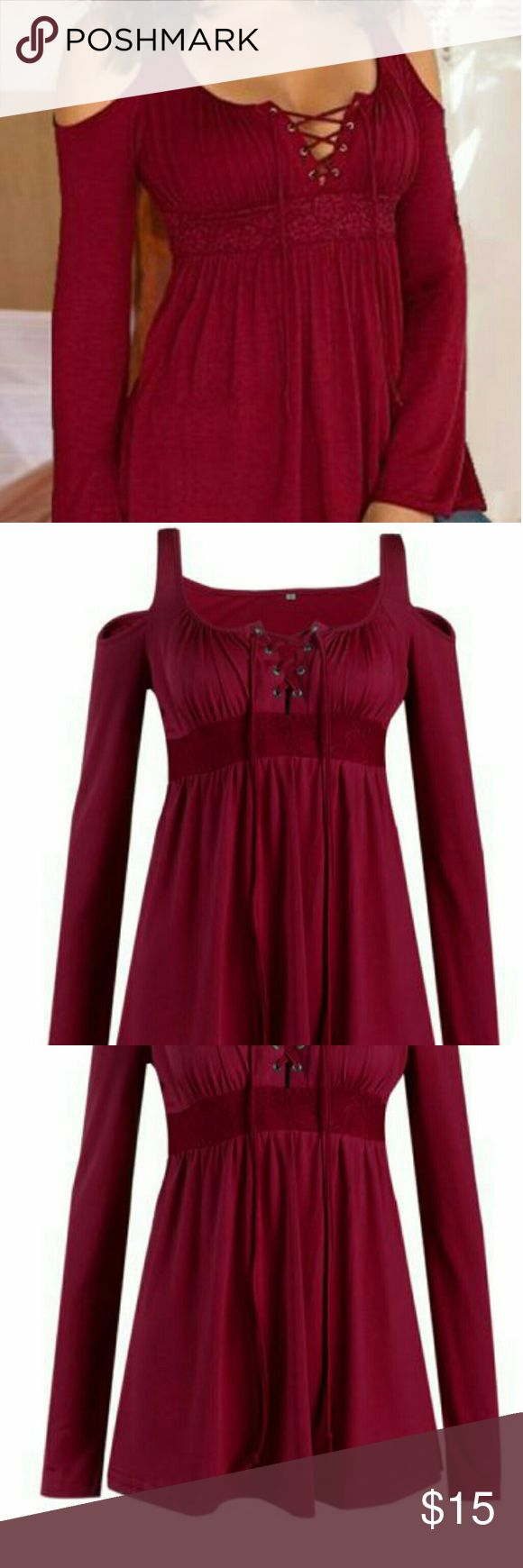 Top Burgundy long sleeve lace bandage hollow shoulder top Tops Blouses