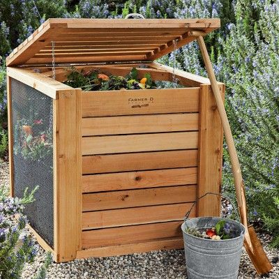 This is a swanky version. No need to buy it. We made a compost bin out of 5 wooden pallets which worked great. I like the screened sides here.