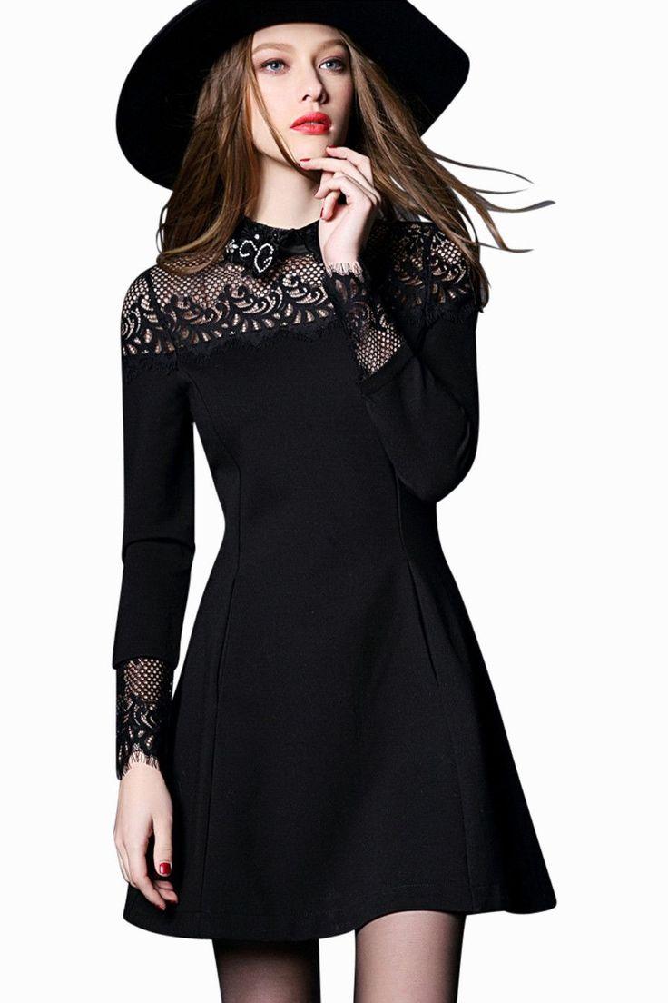 Black Lace Long Sleeve A-line Dress